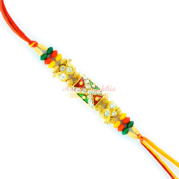 Absorbing Beaded Colorful Beaded N Diamonds Rakhi