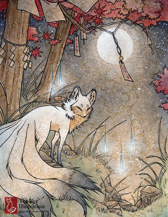 Fox & Wisps / Kitsune Geist, Yokai / japanischen asiatischen Stil / 8.5 feine Kunst-Matte drucken