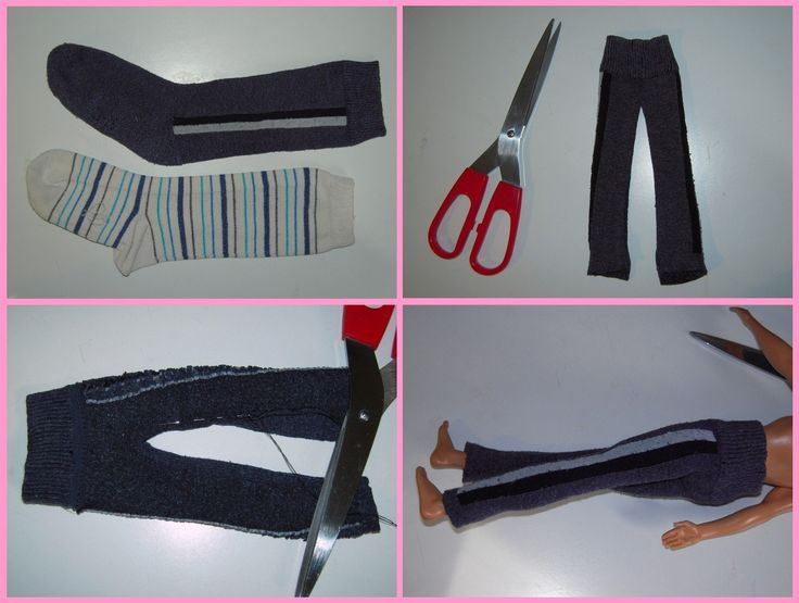Mamma Claudia e le avventure del Topastro: Vestiti per Barbie e Ken. Ken pants from socks.  Sock recycle.