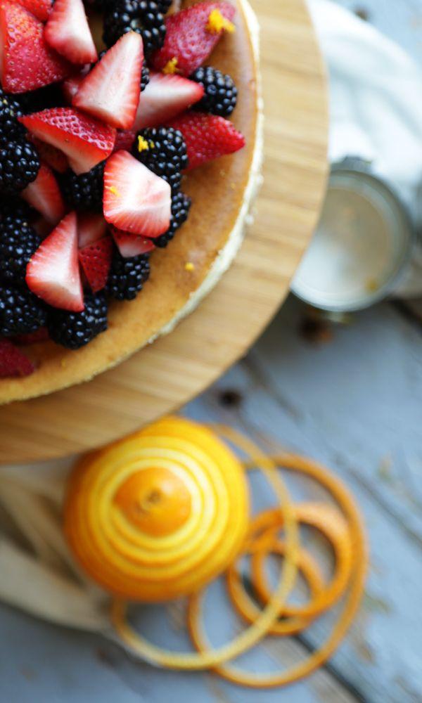 Orange Cheesecake Recipe with Fresh Berries