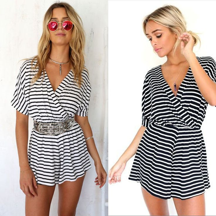 free pp Fashion New Summer Rompers Womens Jumpsuit Striped Short Sleeve V-Neck Jumpsuits 2015 Plus Size Playsuit Romper Shorts
