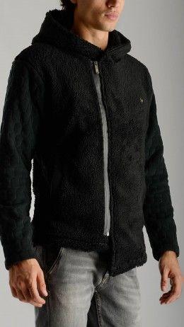 Hooded black Sherpa jacket