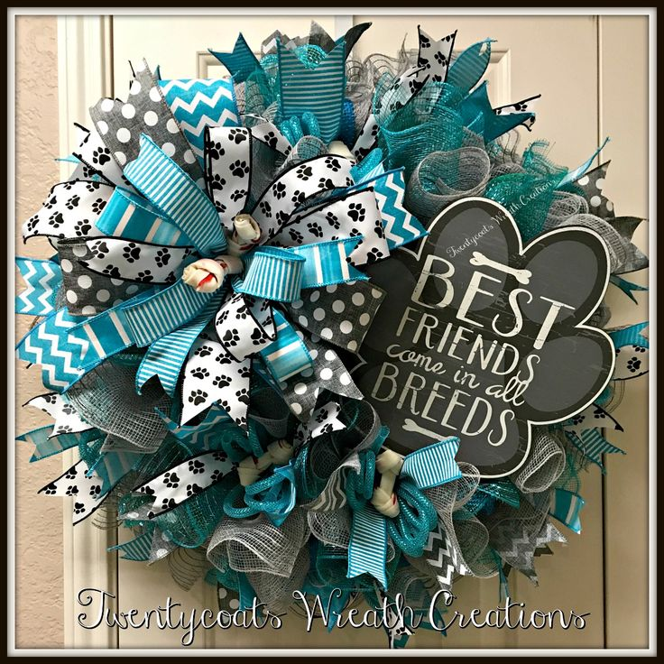 Turquoise and Gray Dog Best Friend deco mesh wreath by Twentycoats Wreath Creations (2017)