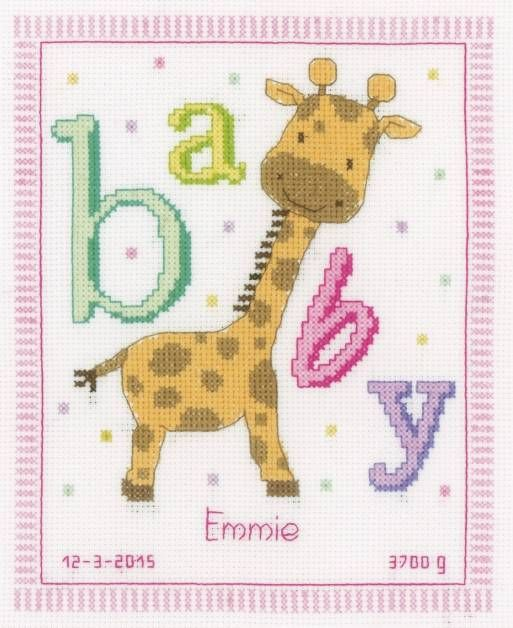 image of Baby Giraffe Birth Sampler Cross Stitch Kit