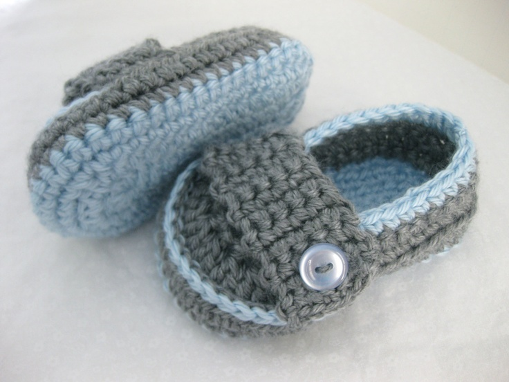 Spring Baby Boy Shoes Light Blue & Grey Crochet  by abitofLovely, $20.00