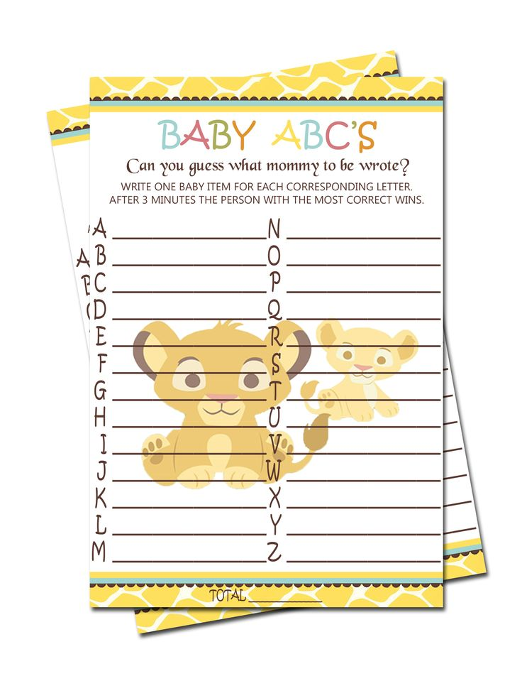 Simba Lion King Baby ABC'S Game - Baby Shower Games $3.99