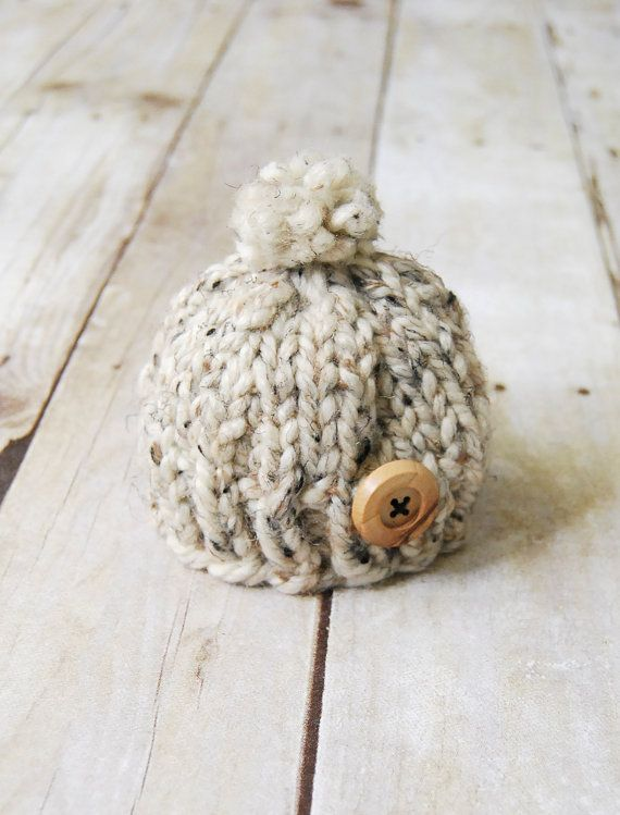 Winter Baby Toque Oatmeal Tweed by purlandcompany on Etsy