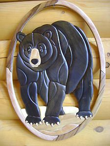 black bear intarsia | Black Bear Intarsia Wood Art Wood Decor Wall Hanging New | eBay