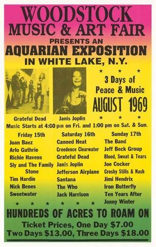 Woodstock - Grateful Dead - Janis Joplin Concert Poster