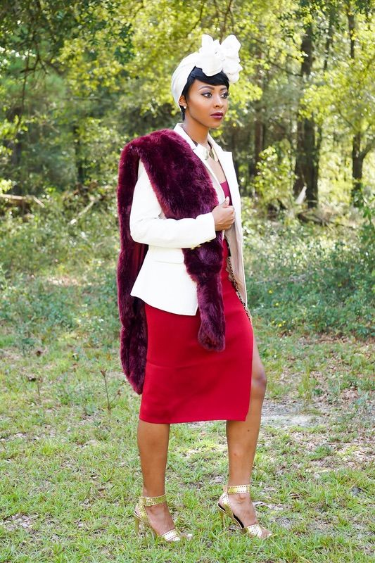A burgundy fur stole + white turban // #fashion #style #lotd #ootd #layers #accessory