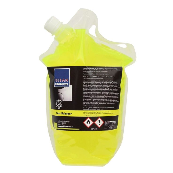 CLEANPRODUCTS Fahrzeug-Glasreiniger Konzentrat (Scheibenreiniger) - 2,5 Liter  Spezieller Scheibenreiniger mit Versiegelungs-Effekt. Kraftvolle Wirkung bei geringem Verbrauch. Glasreiniger-Konzentrat für innen und außen.