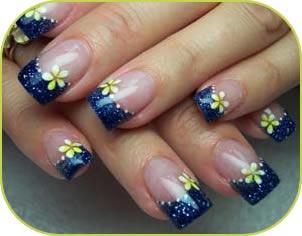 Flower French Nail Art