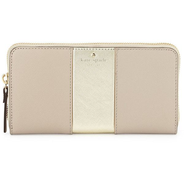 kate spade new york cedar street lacey racing-stripe wallet (720 ILS) ❤ liked on Polyvore featuring bags, wallets, clock tower gold, pink zip around wallet, striped wallet, zip around wallet, pink bag и metallic wallet