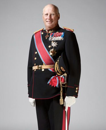 His Majesty King Harald V of Norway. King Harald V, born on 21 February 1937. Son of King, then Crown Prince, Olav V and Crown  Princess Märtha. Succeeded his father as king of Norway on 17 January 1991. Consecrated in Nidaros Cathedral on 23 June 1991. Children: Princess Märtha Louise and Crown Prince Haakon.