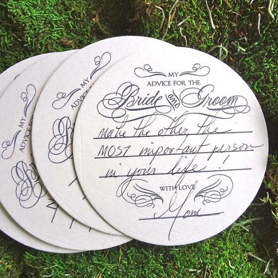 Set of 10 Advice for the Bride & Groom Coasters by GraciousBridal, $5.95
