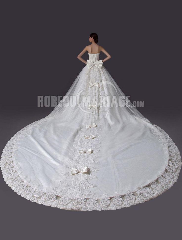 Cathedral Train wedding dress heart bowtie collar Princess Satin Lace robedumariage.com