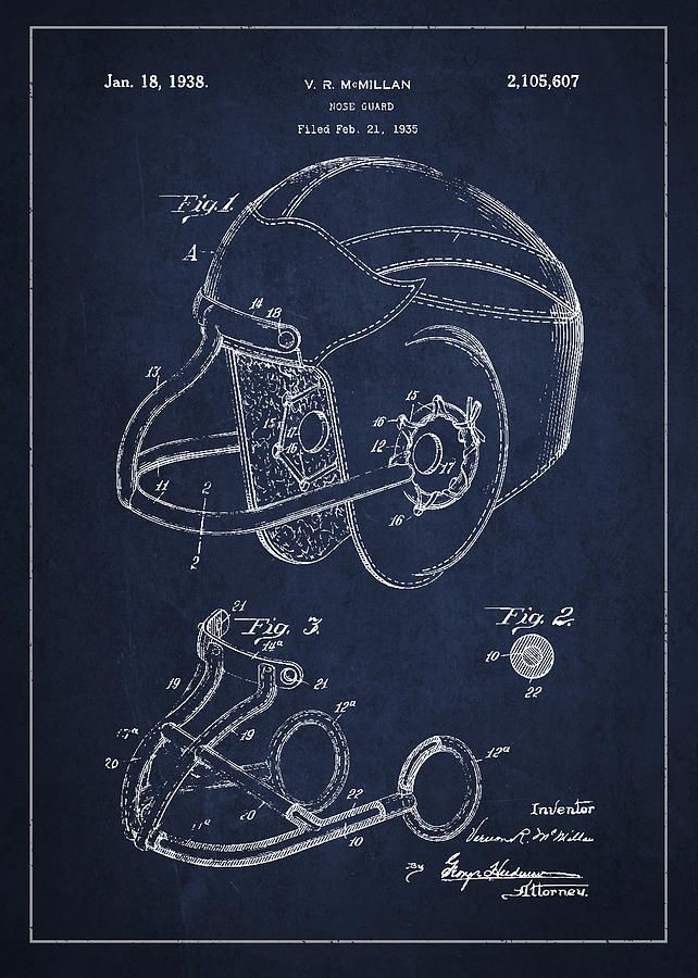 Vintage Football Helment Patent Drawing From 1935 Drawing