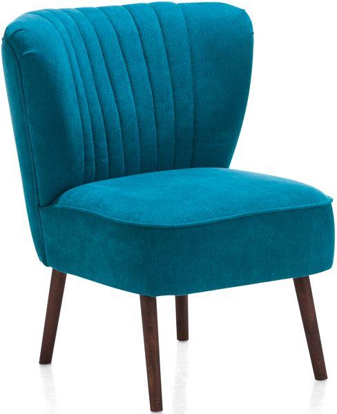 Trendy fauteuil in actueel retro design uit de Henders & Hazel fauteuil collectie. Verkrijgbaar in diverse kleuren stof of kunstleder. De houten poten zijn leverbaar in de kleuren onbehandeld of koloniaal.