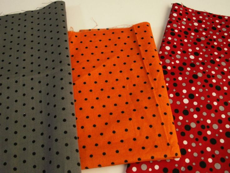 Polka Dots Fabric Remnants, Fabric Bows, Doll Clothes, Apparel, DIY Craft Sewing