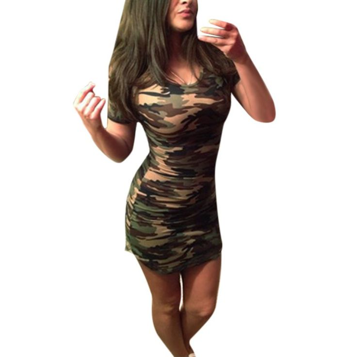 Sexy Mini Dresses Green Camouflage Print O-Neck Women Summer Dress Short Sleeve Plus Size Vestidos