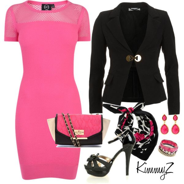 9-5 by zuckie1 on Polyvore featuring McQ by Alexander McQueen, Versace, Iosselliani, Amrita Singh, Precis Petite, hot pink dresses and hot pink