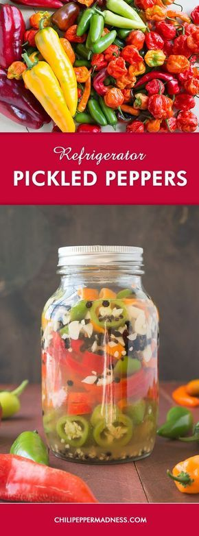 Refrigerator Pickled Peppers - A quick recipe for making pickled peppers that you can keep in your refrigerator for months. They're perfect for topping sandwiches, tacos, tossing onto pizzas, or munching right out of the jar.