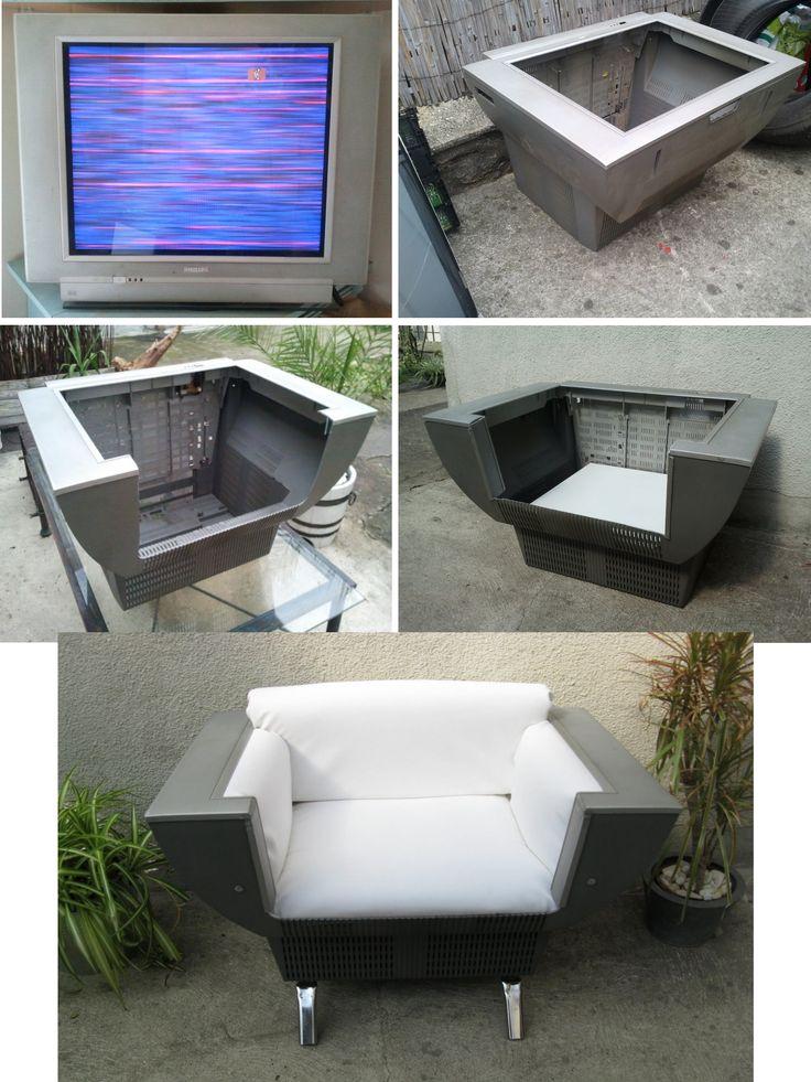 Sedia/Poltrona realizzata con una vecchia tv a tubo catodico