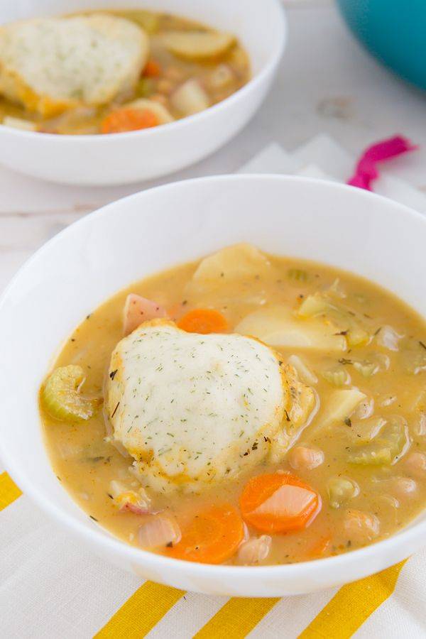 Chickpeas and Dumplings Recipe | vegetarian (or vegan if you substitute the butter) comfort food for fall #soup #stew