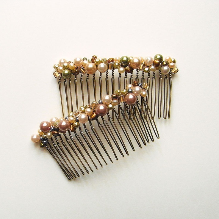 Faux Pearl And Square Beads Hair Comb Wedding Ideas