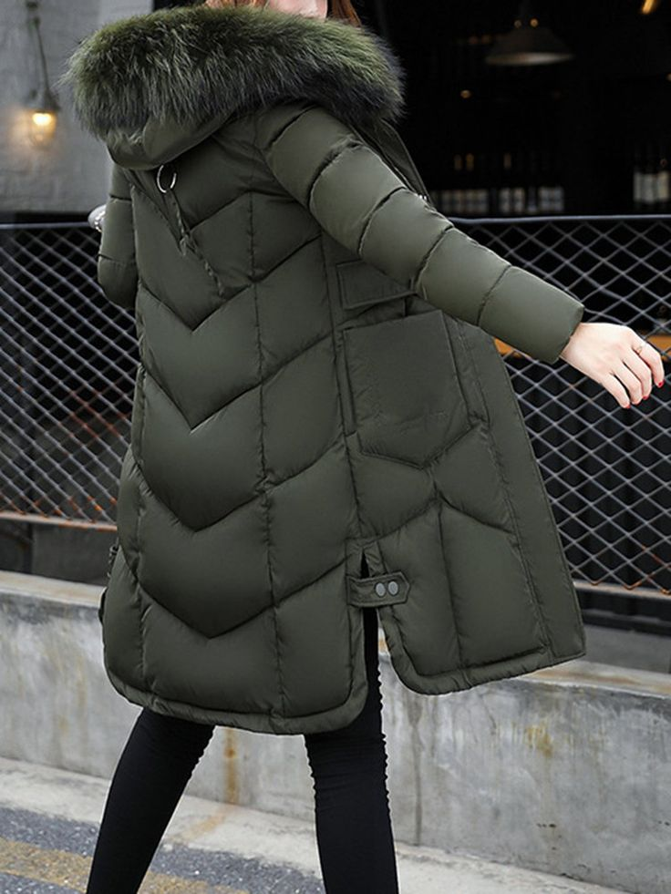Women Thicken Long Sleeve Pure Color Hooded Cotton Down Coats