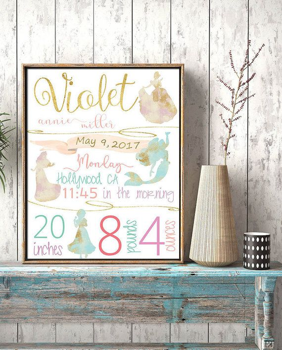 Princess Birth stats Birth details Mint and pink by EllowDee Disney princesses pastels colors gold and pink mint nursery Ariel Cinderella