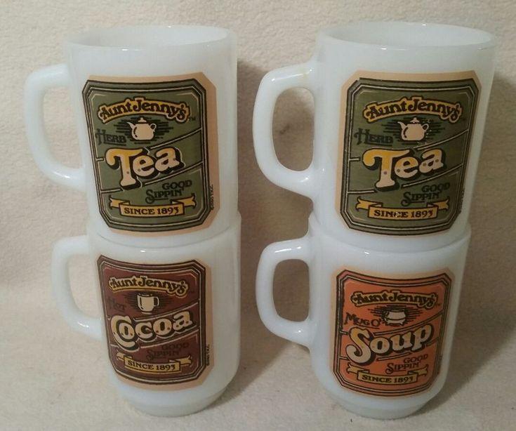 fire king aunt jennys soup,cocoa,tea mug lot -4-