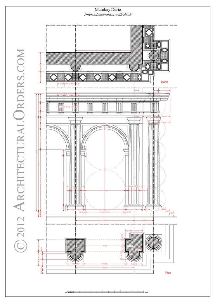 Mutulary Doric: intercolumniation with arch