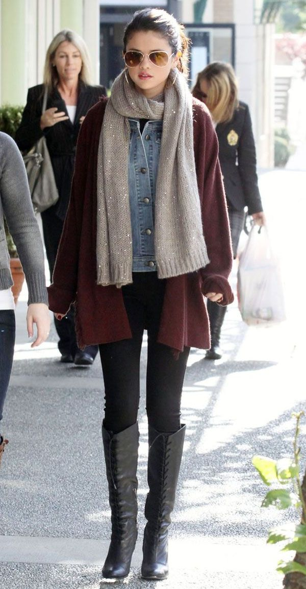 Selena-Gomez-Street-Style-Boots-Scarf-Winter-Look