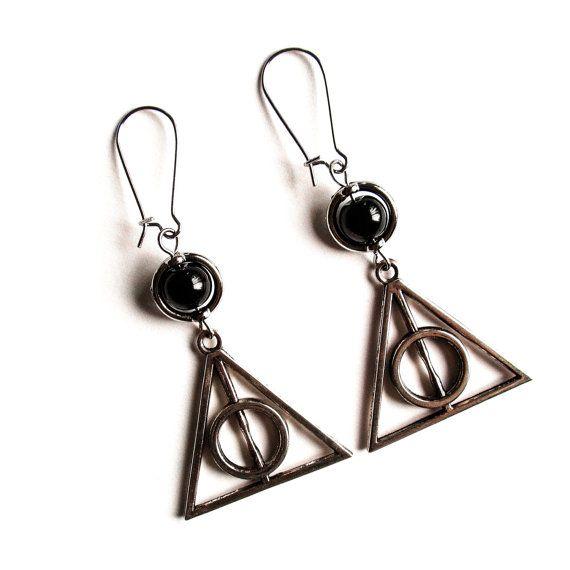 Deathly Hallows Earrings, Harry Potter Earrings, Large Triangle Earrings, Harry Potter jewelry, Harry Potter Earrings