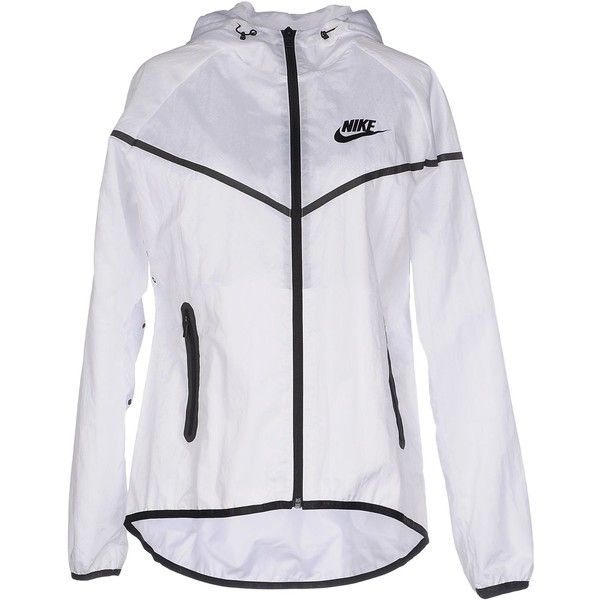 Nike Jacket ($110) ❤ liked on Polyvore featuring outerwear, jackets, white, zipper jacket, nike jackets, zip jacket, white zipper jacket and long sleeve turtleneck top