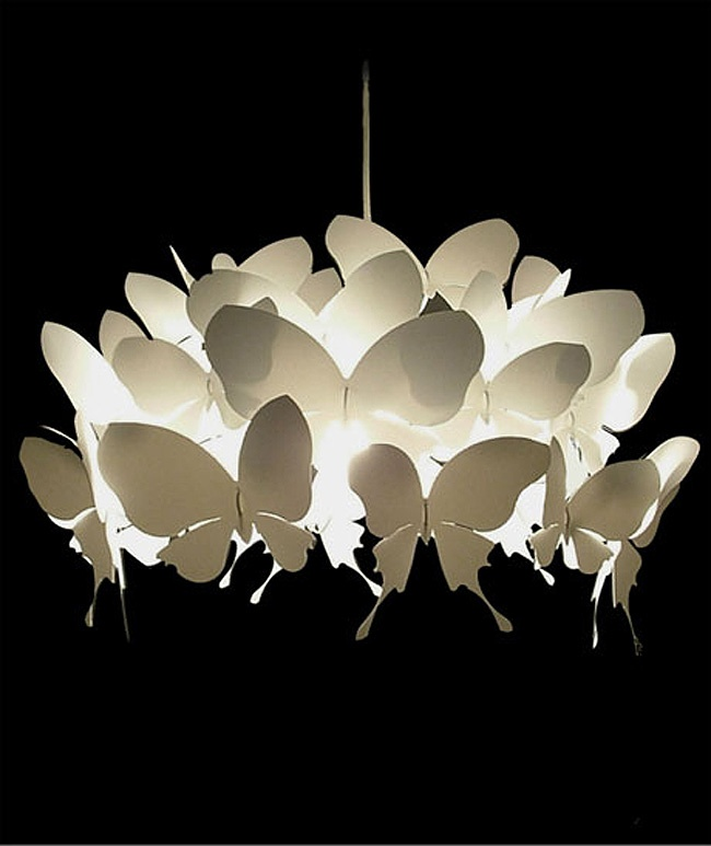 Alex Earl Magical Light Shades -     how cool would it be if the butterflies were painted colors on the back sides so that when the light was off you would see a white fixture, but when it was on reflected color?
