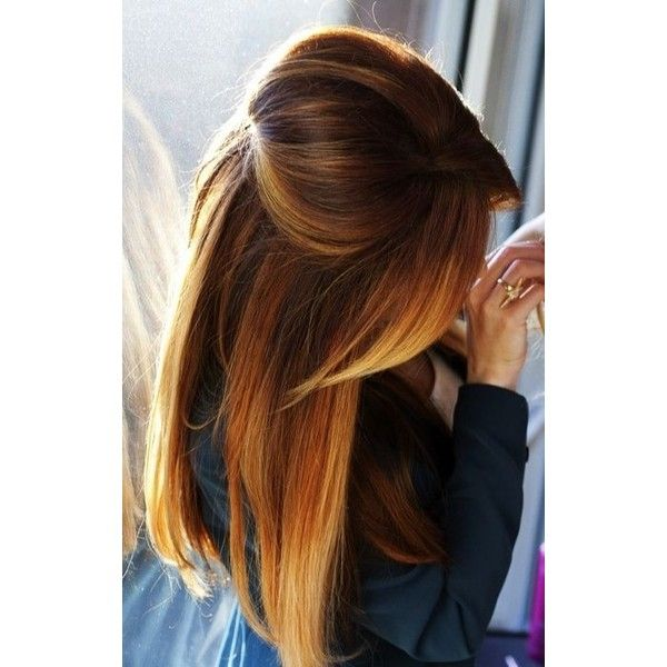 Brown to Blonde Ombre Long Straight Hair found on Polyvore