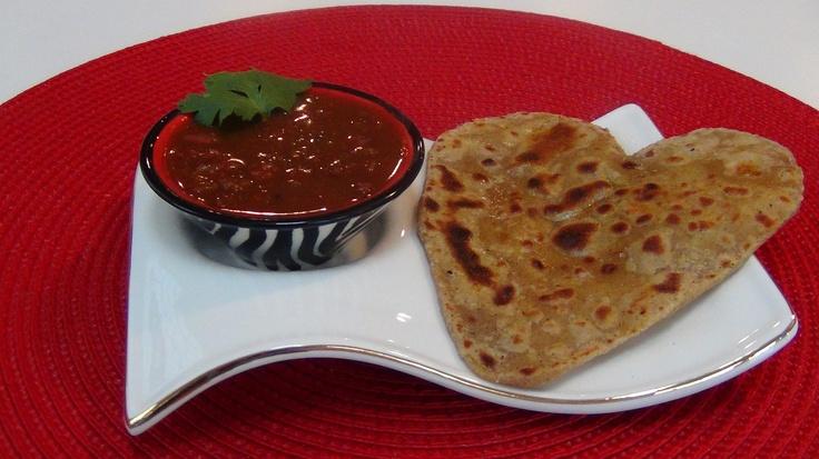 KidneyBeans/Rajma and Indian Flat Bread (Parantha).