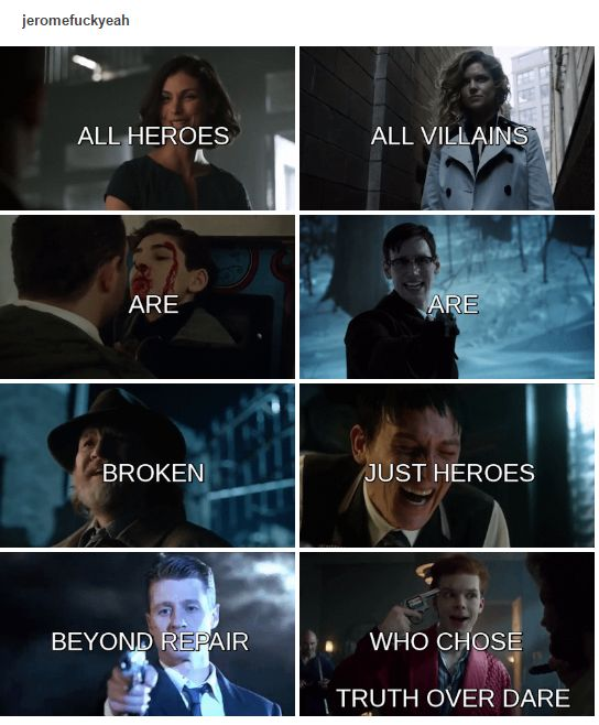 Barbara Kean, Edward Nygma, Pinguin, Jerome Valeska. Jim Gordon, Harvey Bullock, Bruce Wayne, Lee Thompkins