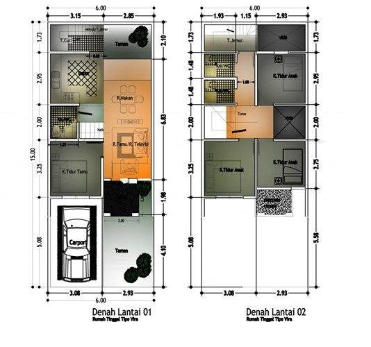 Gambar Contoh Denah Rumah Minimalis 2 Lantai Modern 4
