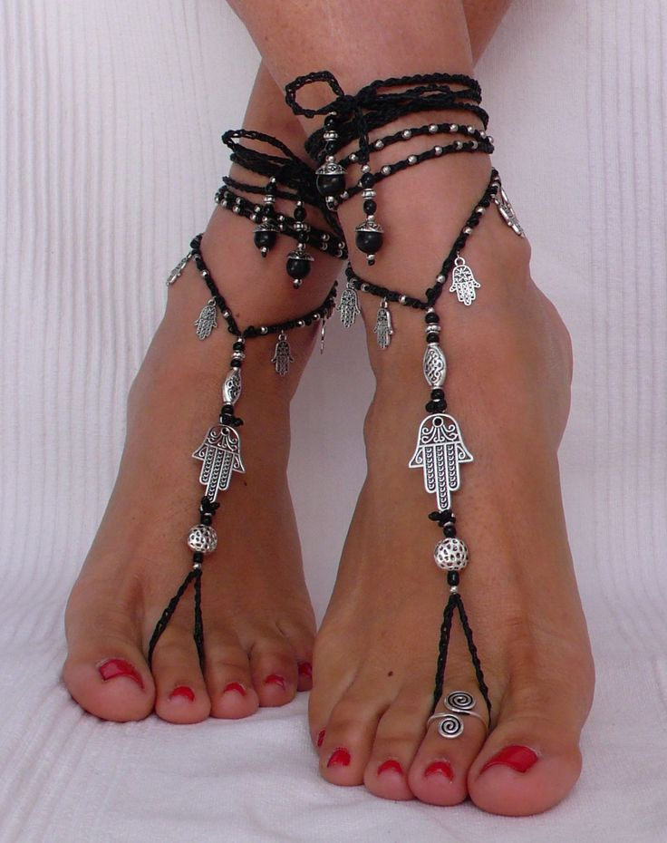 Black and Silver HAMSA BAREFOOT SANDALS foot jewelry hippie sandals toe ring anklet crochet barefoot tribal sandals yoga hand of fatima (33.00 EUR) by PanoParaTanto
