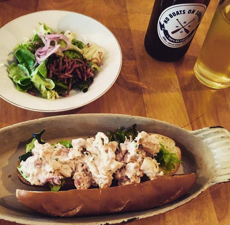 {Newfoundland recipes} Lobster roll on housemade bread, salad and a hard cider | Newfoundland ...