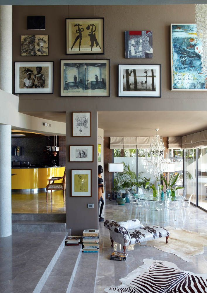 Beautiful entrance area showing artwork collection filled with interesting African pieces