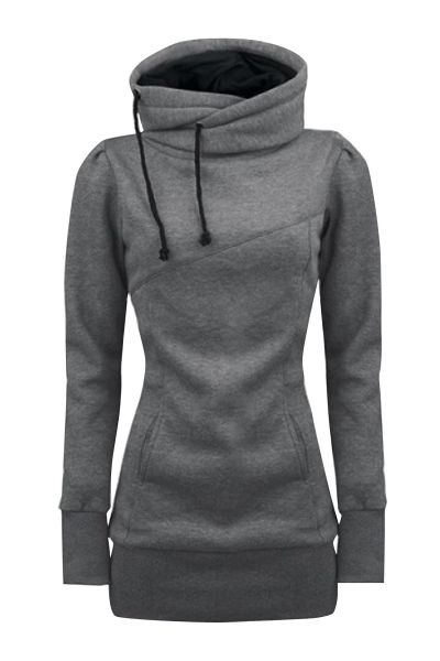 Women's Solid Turtle Neck Long Sleeve Kangaroo Pocket Sweatshirt AZBRO.com