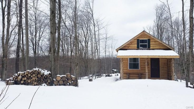 416 Sq. Ft. Tiny Timber Cabin on 5 Acres in NY (For Sale!)