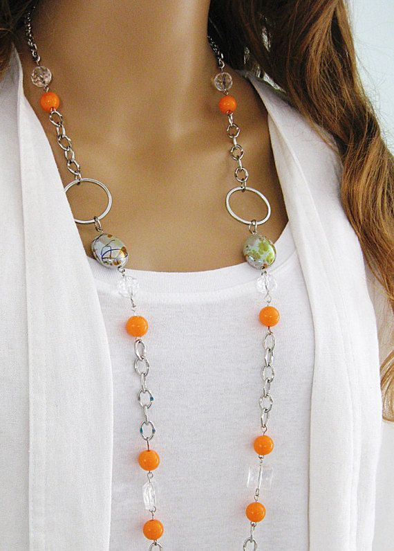 Chunky Orange Necklace, Silver Chain Necklace, Orange Beaded Necklace, Orange…