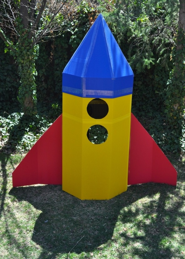 Cardboard Rocket- easy to build using Tri-fold display poster-boards
