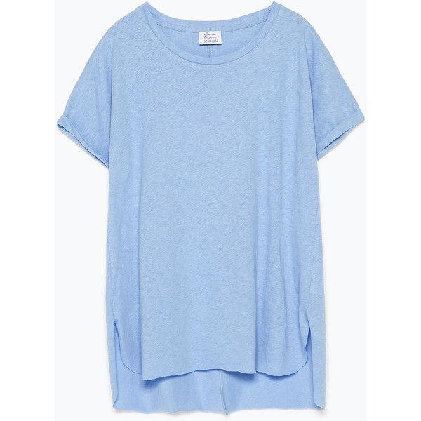 Zara Basic T-Shirt ($20) ❤ liked on Polyvore featuring tops, t-shirts, dresses, shirts, light blue, light blue t shirt, basic tee-shirt, blue shirt, blue tee and basic tee