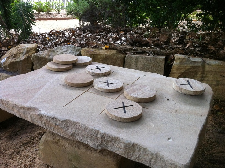 Sandstone Noughts and Crosses Game Gardening and garden equipment. Buy garden tools for home gardening from The Garden Tool Shop www.gardentoolshop.com.au